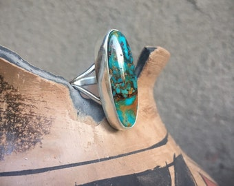 Simple Oval Turquoise Ring for Women Size 9, Navajo Native American Indian Jewelry, December Birthstone