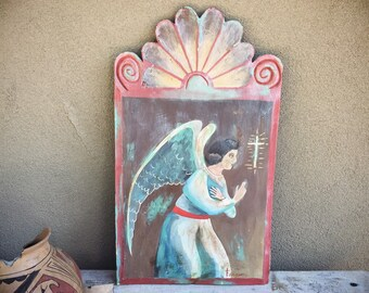 Antique Religious Folk Art Painting on Carved Wood of Angel with Cross, New Mexico Spanish Colonial Retablo