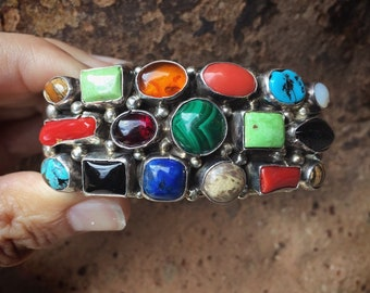 Signed Navajo Sterling Silver Multistone Coral Turquoise Cuff Bracelet for Women Men, Native American Indian Jewelry