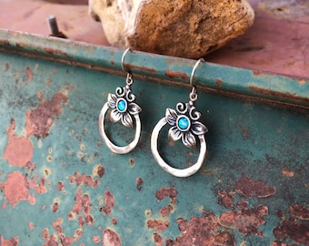 Sterling Silver Hoop Earrings with Opal Stone Flower Design, Bohemian Jewelry, Birthday Gift