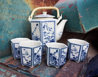 Japanese Hexagonal Teapot with Cane Wrapped Handle and Four Handleless Cups Porcelain, Pagodas
