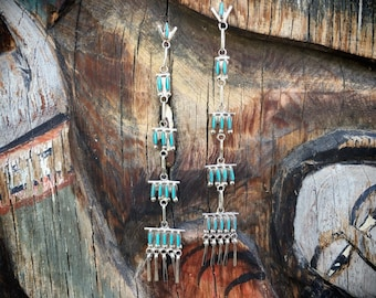 Tiered Chandelier Earrings Long Turquoise Dangles, Zuni Native American Indian Jewelry