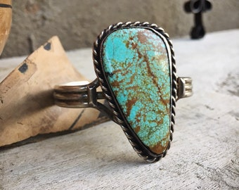 1960s Large Natural Turquoise Cuff Bracelet for Women or Men, Navajo Native American Indian Jewelry