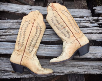 Vintage Tan Leather Cowboy Boots Women Size 6B Panhandle Slim Cowgirl Boots, Western Boots for Women