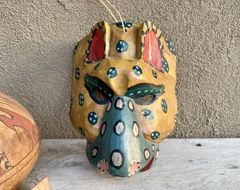 Carved Painted Vintage Mexican Wooden Mask of Jaguar Tigre, Mexico Folk Art Wall Hanging Southwest