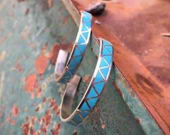 Signed Zuni Turquoise Hoop Earrings for Women, Channel Inlay Native American Indian Jewelry