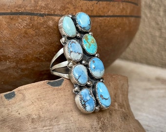 Navajo C. Yazzie Golden Hills Turquoise Cluster Ring Size 8.5, Native American Indian Jewelry