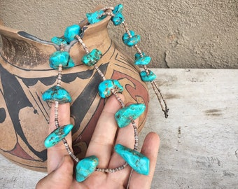 Old Pawn 126gm Turquoise Nugget Heishi Necklace for Women, Native America Indian Santo Domingo Jewelry