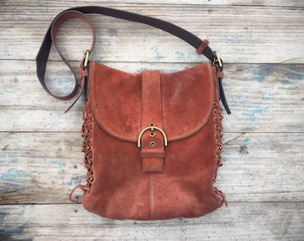 Vintage Coach Shoulder Bag Rust Brown Suede Leather Side Stitching Cross Body Handbag F3S-9486