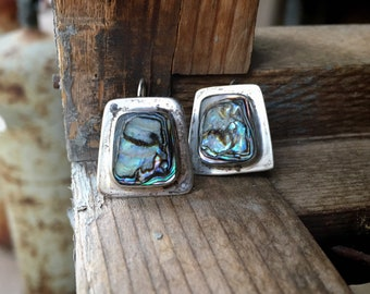 Vintage Mexican Jewelry Sterling Silver Earrings with Abalone, Modernist Rectangle Shape Taxco Jewelry