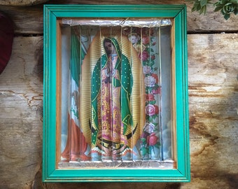 Vintage Virgin of Guadalupe Lenticular Shadowbox Wall Hanging with Guardian Angel and Madonna Child