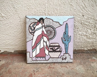 Southwestern Ceramic Tile Hot Plate Trivet with Native American Woman and Cactus, Tile Art