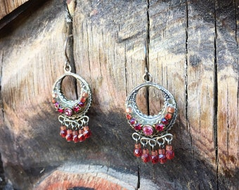 Small Pink Rhinestone Silver Hoop Earrings for Women, Sparkly Dangles Bohemian Jewelry 925 Sterling Silver