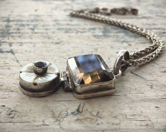 Large Sterling Silver Smoky Quartz Pendant Necklace with Antique Button Heavy Rope Chain