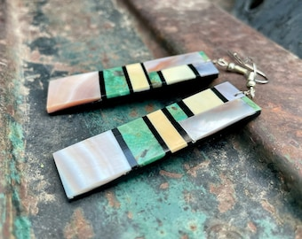 Turquoise Slab Earring with Black Onyx Shell Multi Stone Dangles by Santo Domingo Torevia Crespin