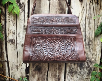 Vintage Mexican Purse Tooled Leather Bag, Dark Brown Western Purse, Cowgirl Tote