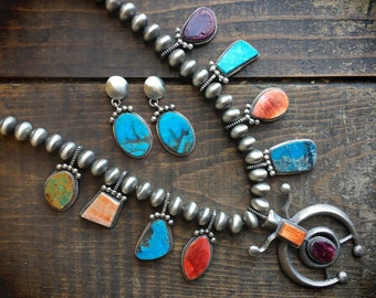 Spiny Oyster and Turquoise Squash Blossom Necklace and Earrings, Native American Indian Jewelry