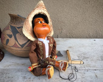 Vintage Mexican Marionette Mariachi Man with Maracas, String Puppet Folk Art, Primitive Decor
