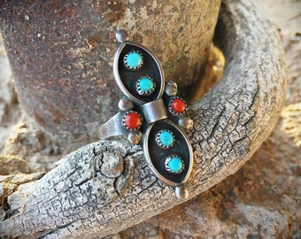 Dainty Turquoise Coral Ring for Women Size 6.25, Old Pawn Zuni Snake Eye, Native America Indian Jewelry, Narrow Long Ring, Daughter Gift