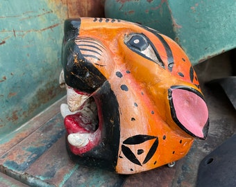 Carved Painted Vintage Mexican Wooden Mask Jaguar Tigre, Mexico Folk Art Wall Hanging Southwestern