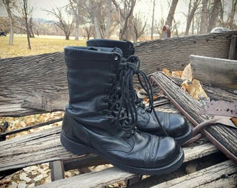 Vintage Corcoran Made in USA Lace Up Black Paratrooper Jump Boots Goth Boots
