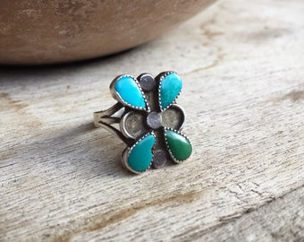 Vintage Zuni Turquoise Ring Butterfly Design Size 5, Native American Indian Ring, Old Pawn