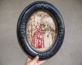 Victorian 19th Century Petit Point and Needlepoint in Distressed Oval Antique Frame Wall Art Hanging