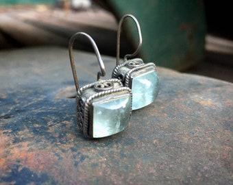 Vintage 925 Sterling Silver Dangle Earrings with Blue Moonstone, Boho Jewelry, Girlfriend Gift