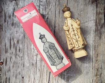 Small Plastic Santo Nino de Atocha Figurine in Original Box, Religious Travel Saint, Catholic Gifts