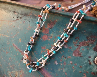 1960s Three Strand Heishi Turquoise Necklace for Women, Southwestern Jewelry Native American Indian