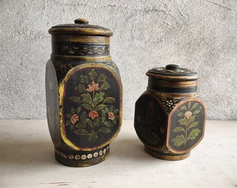 Pair of Vintage Heavy Turned Wood Lidded Canisters Treenware with Tole Spice Boxes Black Background Gold Paint Floral, Primitive Decor