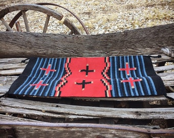 "Vintage 20"" x 40"" Zapotec Rug Wall Hanging in Red Blue Black, Mexican Rug, Southwestern Home Decor"