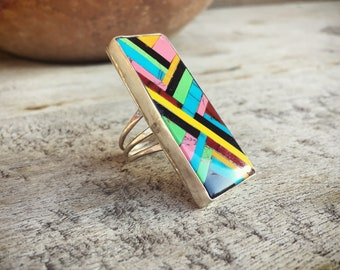 Vintage Turquoise Ring Size 9 for Women Native American Mosaic Inlay Big Statement Ring