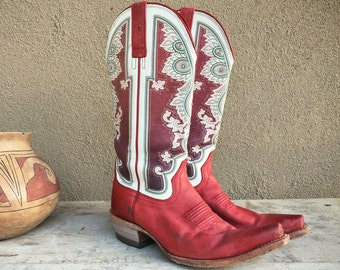 Vintage Cowboy Boots Women's Size 9B Red Cowgirl Boot, Two Tone White Overlay