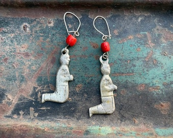 Small Mexican Milagro Praying Person Charm Earrings with Coral Bead, Bohemian Jewelry Religious