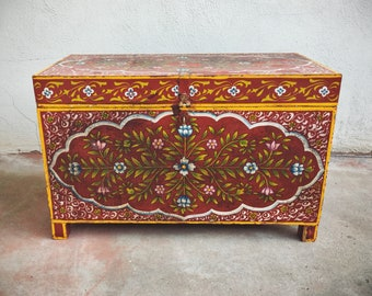 "Vintage 28"" Wide Painted Wood Chest Red Console Table or Small Coffee Table, Storage Trunk"