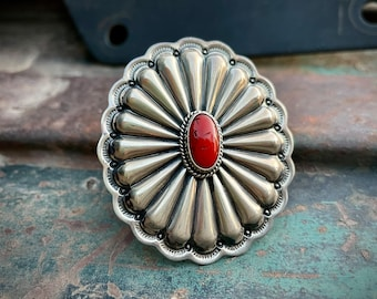 Navajo Darrel Cadman Huge Coral Sterling Silver Concho Ring Size 7.5, Native American Jewelry