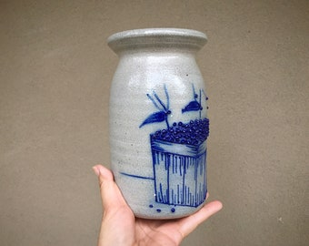 Salt Glaze Cobalt Blue Decorated Tall Lidded Jar with Fruit Scene, Farmhouse Kitchen Decor