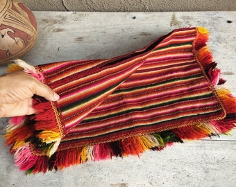 Vintage Child's Huipil Wool Weaving Mexican Collectible Textiles, Woven Wall Hanging