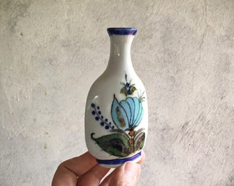 Small Tonala Pottery Weed Vase Mexican Decor, Blue and Gray Tones