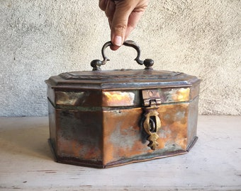 Vintage Copper Box from India Bohemian Decor, Antique Paan Daan Betel Nut Box Stash Container