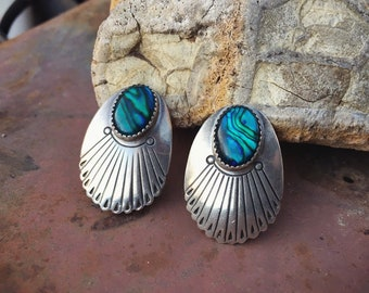 Vintage Clip On Earrings Abalone Sterling Silver Conchos, Native American Indian Jewelry