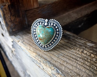 Southwestern Sterling Silver Turquoise Heart Ring Size 8.5, Native America Indian Style Jewelry