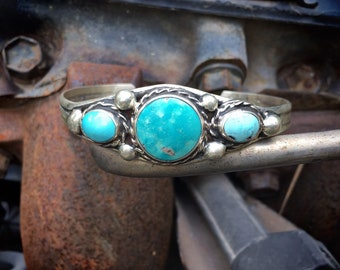 Navajo Made Sterling Silver Turquoise Bracelet for Women, Native America Indian Jewelry, December Birthstone Gift for Daughter Granddaughter