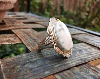 White Turquoise Stone Ring for Women Size 9, Signed Navajo Native American Indian Jewelry, Mother's Day Gift for Her, Anniversary Gift Wife