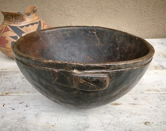 """11"""" Diameter Vintage Wooden Bowl from Africa, Decorative Fruit Bowl, Wedding Gift for Couple"""