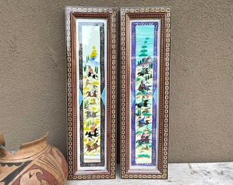 Pair of Vintage Middle Eastern Celluloid Paintings with Marquetry Frame, Khatam Kari Wall Art