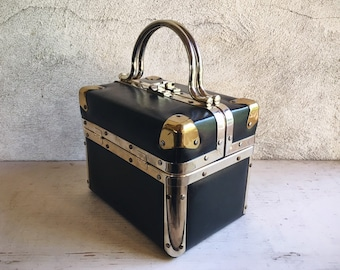 Vintage Delill Black Vinyl Box Purse with Metal Brass Chrome Detailing, Small Train Trunk Hard Case Purse