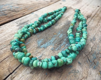 RESERVED / Three Strand Turquoise Nugget Necklace for Women, Authentic Turquoise Southwestern Jewelry