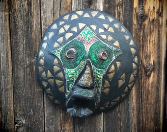 Large Wooden Mask Wall Hanging, Ghana Africa Folk Art Mask, Ashanti Tribal Art Primitive Decor